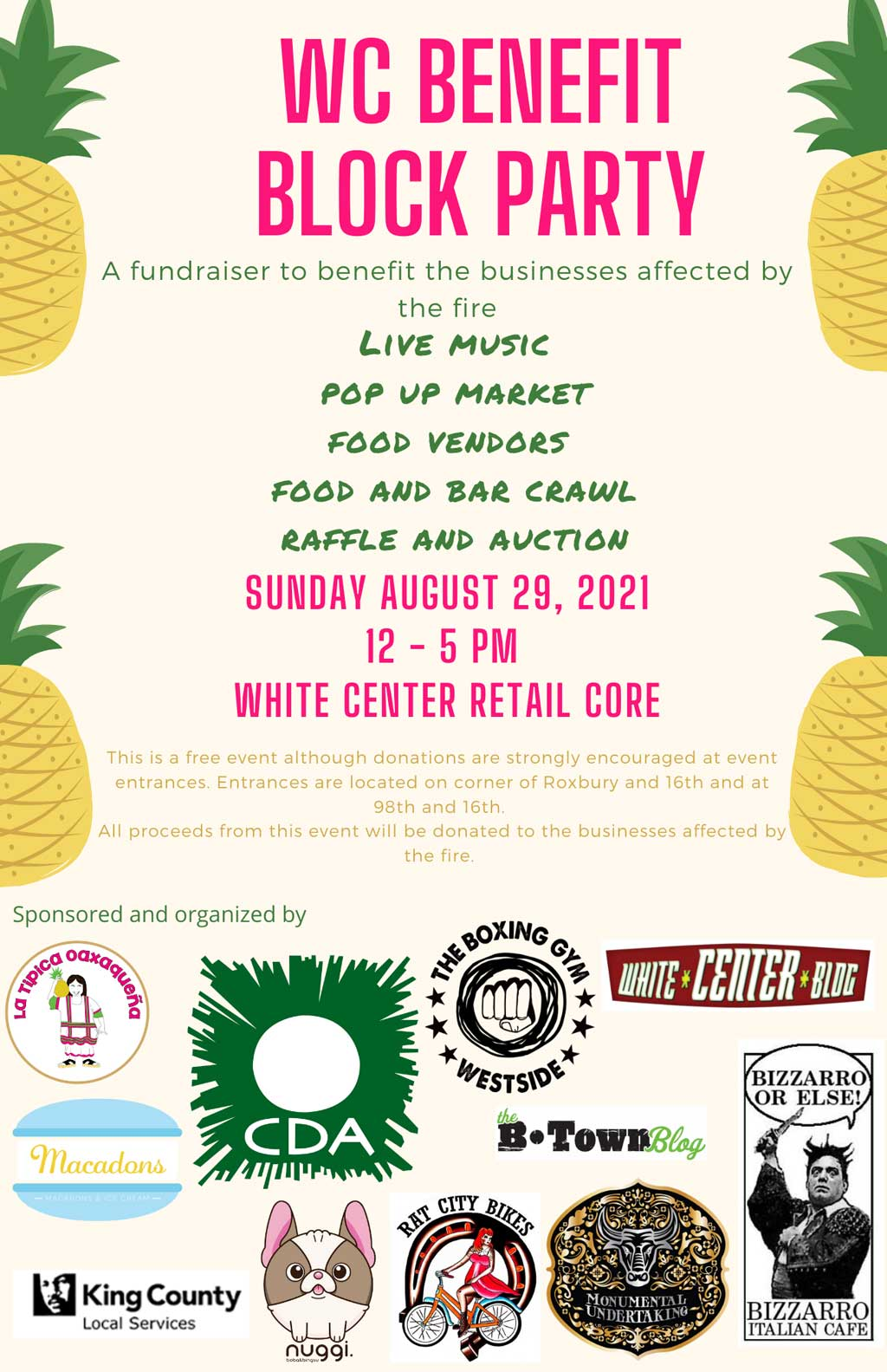 REMINDER: Block Party to benefit businesses affected by White Center fire will be this Sunday 1