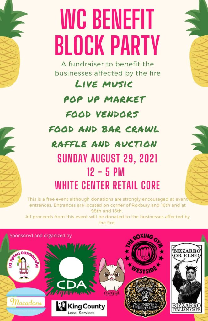 Block Party to benefit businesses affected by White Center fire will be Sunday, Aug. 29 1